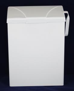White Metal Wall Mount Sanitary Receptacle